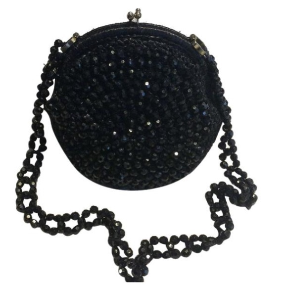 Vintage Handbags - Vintage Black Beaded shoulder Bag